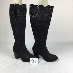 Sugar Raegan Black tall boots with lace
